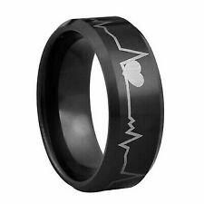 Romantic - Heart beat Tungsten ring with 18K black IP plating - 8mm wide - many