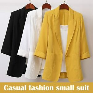 Hot Sale Cotton and Linen Long and Large Size Suit Jacket Loose Casual Fashion
