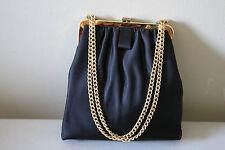 Vintage Ladies Small Black Evening Bag Purse w/ Chain