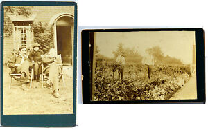 CDV x 2 Portrait of possibly Home Gardeners   1890's