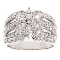 Epiphany Diamonique 1.35 ct tw Mixed Cut Flower Ring SZ 7 QVC Valentine's Day