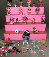 Large Lot LOL Dolls Lil Sisters Pets Accessories Store Display Case
