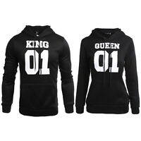 Couple King and Queen Lover Matching Hoody Casual Hoodie Sweatshirt Pullover Top