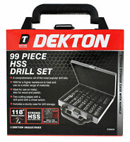 Dekton 99pc Hss Drill Set Hss Drill Bits Set Titanium Universal Carry Case Organ