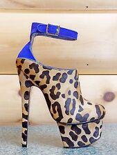 """London Trash Wynne Leopard Pony Hair 6.5"""" High Heels Platform Shoes 6-10"""