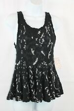 Free People Sleeveless Top Black White Cotton Babydoll Small NWT