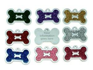 Personalised glitter bone dog tag pet ID tags cat tag. pet id tag, engraved tags