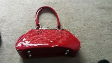 LUX DE VILLE PATENT KISSLOCK PURSE RED handbag quilted style dice fob/keychain