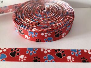 """Dog Paw Print Ribbon 7/8"""" (22mm) wide 1m is only £1.49 NEW FREE P&P"""