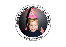 Personalised Your Photo Birthday Party bag Thank You 40mm Round Stickers 24