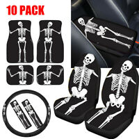 Novelty Skull Zombie Black Car Seat Covers Full Set Combo Floor Mats 10 pcs Set