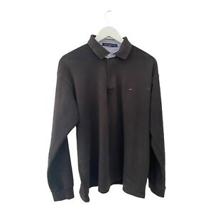 Retro Tommy Hilfiger Long Sleeve Polo Shirt Size XL Button Up Collared Tee