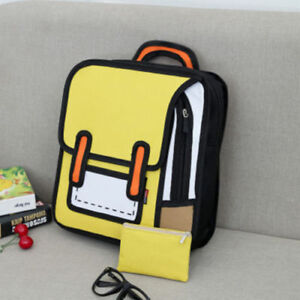 New 3D Jump Style 2D Drawing Cartoon Paper Bag Comic Backpack Messenger Bookbag