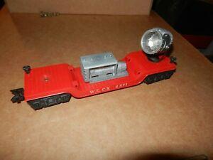 MARX #4571 WECX Depressed Flat w/Searchlight, Red, Original
