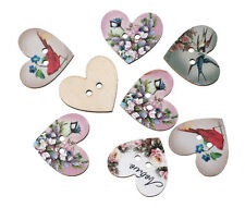 "Lot of 5 BIRDS HEART 2-hole 1 1/8"" x 1"" (28 x 24mm) Wooden Button Scrapbook 5431"