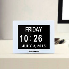 """8"""" LED Digital Desk Calendar Alarm Clock Extra Large Time Date Day Week Month AU"""
