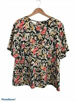 Katie Lee Women's Black Short Sleeve Floral Blouse Top Size XL ? Scoop Neck