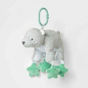 Carters Just One You Gray White Green Star Teddy Bear Clip On Toy Lights Music
