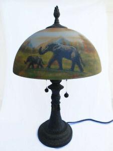 Rare Dale Tiffany Reverse Painted Safari Table Lamp Elephant Giraffe Cheetah