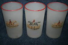 vintage set 3 frosted equestrian hansetta handpainted drinking glasses red rim