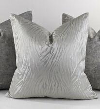 De LUJO Cubierta Cojín De Impresión Tigre Brillante Hecho a Mano de Plata de doble cara