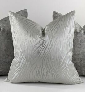 LUXURY SHIMMERY TIGER PRINT CUSHION COVER HANDMADE DOUBLE SIDED SILVER