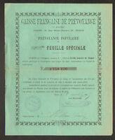 """PARIS (IX°) BANQUE """"CAISSE FRANCAISE DE PREVOYANCE"""" Obligation en 1895"""