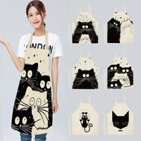 Waterproof Cafe Shop Restaurant Apron Kitchen Cute Cat Printed Cooking Aprons