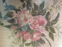 "Vintage 1950's Mid Century Curtains Drapes 1 Panel Floral with Gold 41"" by 85"""