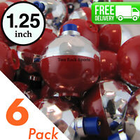 "6-Pack - 1.25"" inch Round REFLECTIVE Bobbers Floats - great for Night Fishing"