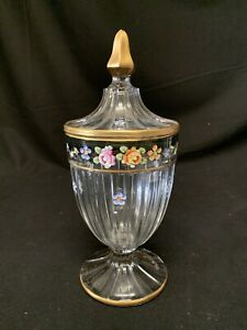 Heisey Hand Painted Gold Trim Crystal Glass Footed Candy Dish With Lid