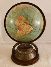 Vintage 1945 Replogle Terrestrial World Globe with 24 Hour WORLD Time Clock Base