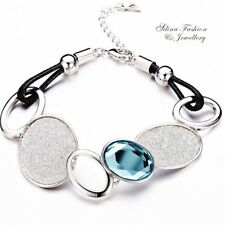 18K White Gold GF Glass Crystal Leather Stylish Shiny Ocean Blue Oval Bracelet