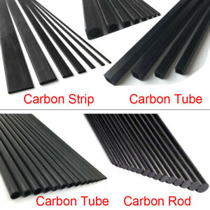 500mm Carbon Fiber Strip Solid Rod Round Square Tube Flat Bar Shaft RC Airplane