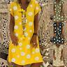 UK Womens Casual Short Sleeve Loose Wrap Shirt Daisy Ladies Summer Mini Dress