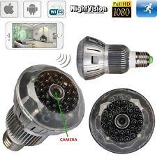 1080P WIFI HD SPY Hidden Wireless Camera H.264 DVR Light Bulb IRNight Vision Cam