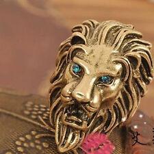 Retro Women Lion Head Rhinestone Bronze Ring Alloy Band Finger Ornaments Jewelry