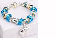 Women's Silver/Gold Beads Murano Glass Heart Bracelet Charm Jewellery
