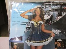 NEW Rockin the Boat Pin Up Sailor Girl Costume Adult Halloween Dress Navy large