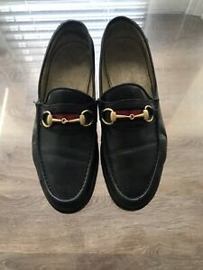 AUTHENTIC GUCCI BLACK LEATHER LOAFERS MEN'S SHOES SIZE 10 1/2 D  MADE IN ITALY