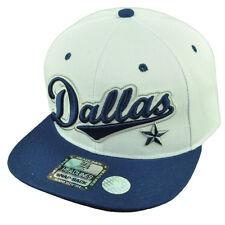 Dallas Texas City 3D Logo Snapback Flat Bill Brim Hat Cap White Blue Mens
