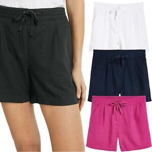 Ladies Linen Summer Shorts Casual Pants with Elastic Waist and Drawcord Fastener