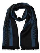 Versace Collection Men's Block Color with Logo Wool Scarf