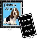 DOG DISHWASHER MAGNET (Basset Hound #2) - Clean/Dirty *Ship FREE