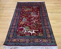 Oriental Persian Kashmir Hand Knotted Hunting Silk Rug Carpet, Floor Decor Room