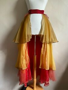 Fire, Flame, Autumn Colors Burlesque, Costume Long Maxi Open Tulle Skirt, Size L