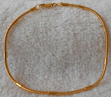 Man's  18k Gold layered 3mm Snake Beaded Chain  Bracelet  Size 8''  BNG02