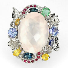 Jumbo Ring Rosenquarz Tansanit Smaragd u.a. 925 Silber 585 Weißgold Gr. 57