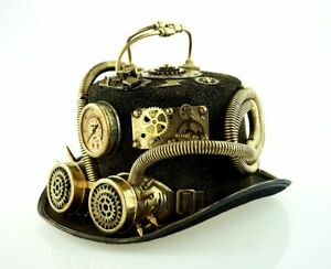 New Steampunk Tritor Hat with Goggles One Size Bauer18796 Halloween markystore