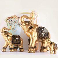 Gold Lucky Elephant Home Office Decor Statue Figure Ornament Sculpture Gift Art